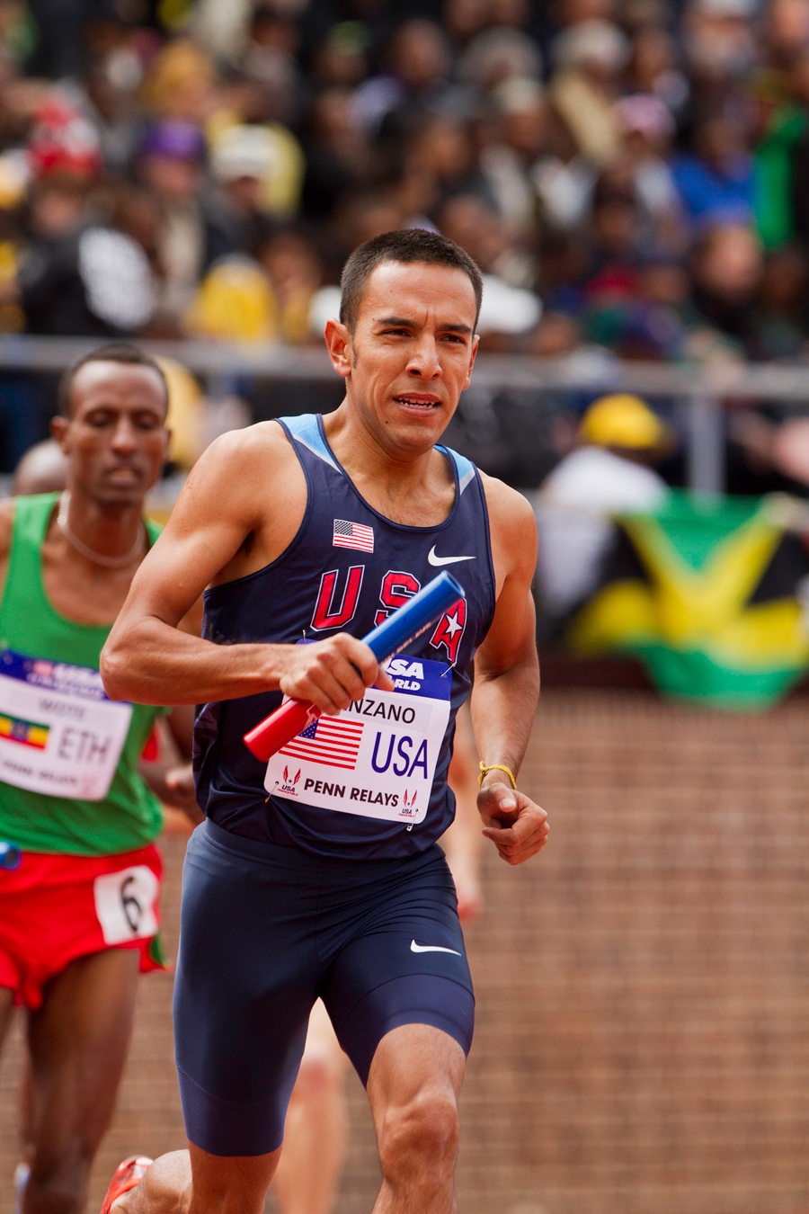 Leo Manzano anchors the USA Blue team in the USA vs. the world DMR at the 2012 Penn Relays.